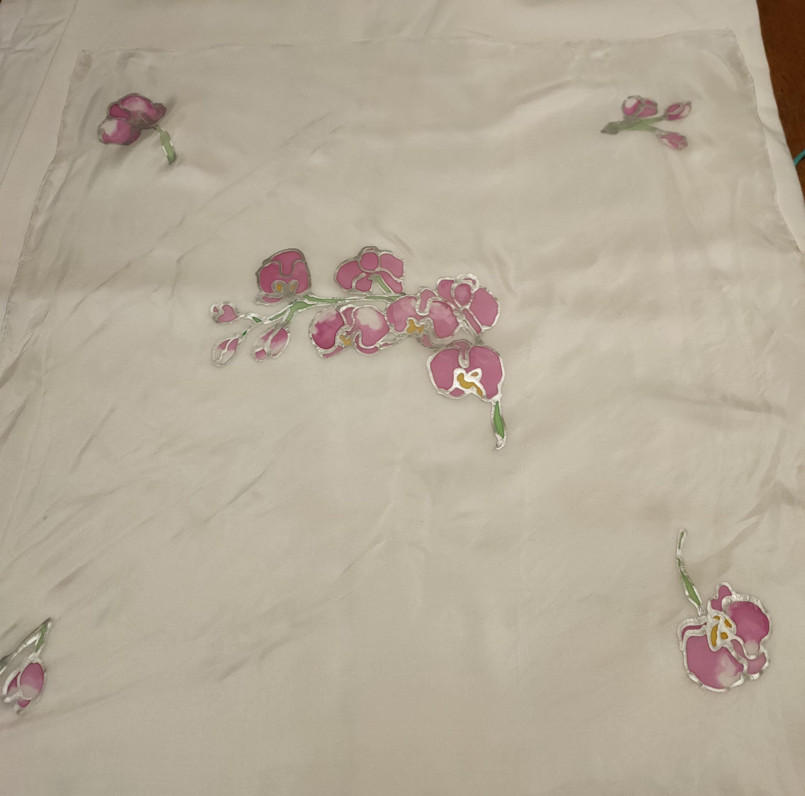 Foulard modèle Orchidée rose